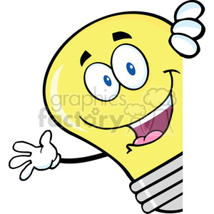 6058 Royalty Free Clip Art Light Bulb Cartoon Character Waving Behind A Sign clipart. Royalty-free image # 389228