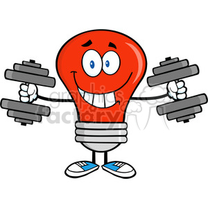 6021 Royalty Free Clip Art Smiling Red Light Bulb Cartoon Character Training With Dumbbells