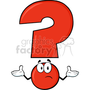 6271 Royalty Free Clip Art Red Question Mark Cartoon Character With A Confused Expression clipart. Royalty-free image # 389258