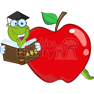 6243 Royalty Free Clip Art Happy Worm In Red Apple Reading A School Book clipart. Commercial use image # 389278