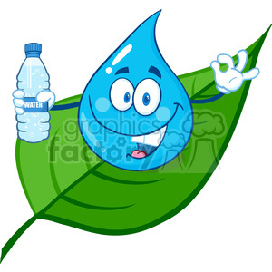6240 Royalty Free Clip Art Smiling Water Drop On A Leaf Showing Water Bottle