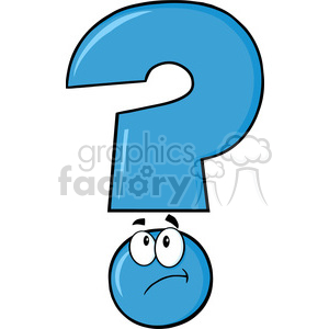 6264 Royalty Free Clip Art Blue Question Mark Cartoon Character Thinking clipart. Royalty-free image # 389298