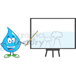 6222 Royalty Free Clip Art Water Drop Character With Pointer Presenting On A Board