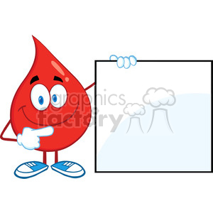 6177 Royalty Free Clip Art Red Blood Drop Cartoon Character Showing A Blank Sign clipart. Royalty-free image # 389318