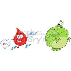 6195 Royalty Free Clip Art Red Blood Drop Character Chasing With A Syringe Germ Or Virus