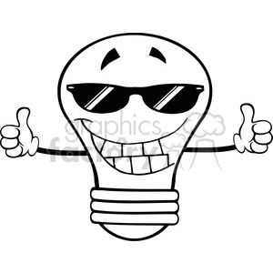 6158 Royalty Free Clip Art Smiling Light Bulb With Sunglasses Giving A Double Thumbs Up clipart. Commercial use image # 389368