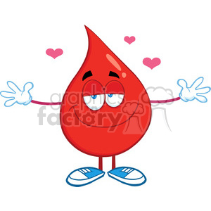 6197 Royalty Free Clip Art Smiling Red Blood Drop Character With Open Arms For Hugging clipart. Royalty-free image # 389398