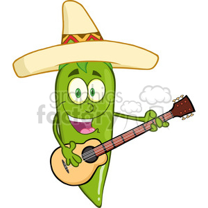 6799 Royalty Free Clip Art Green Chili Pepper Cartoon Character With Mexican Hat Playing A Guitar clipart. Commercial use image # 389408