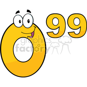Clip Art Price Tag Number 0.99 Cartoon Mascot Character clipart. Royalty-free image # 389418