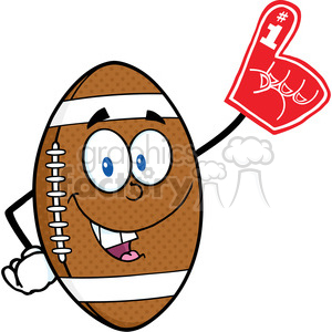 American Football Ball Cartoon Mascot Character With Foam Finger clipart. Commercial use image # 389428