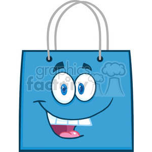 6721 Royalty Free Clip Art Happy Blue Shopping Bag Cartoon Mascot Character clipart. Royalty-free image # 389438