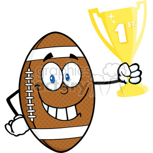 6583 royalty free clip art american football ball cartoon mascot character holding first prize trophy cup