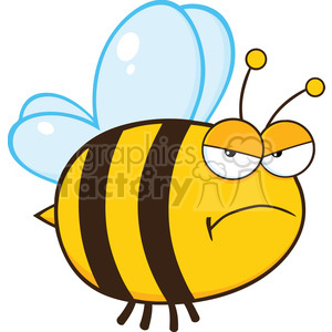 6547 Royalty Free Clip Art Angry Bee Cartoon Mascot Character clipart. Commercial use image # 389473