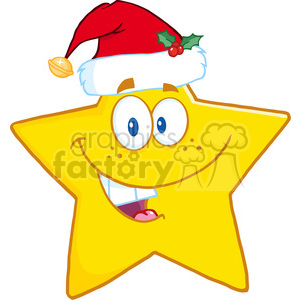 6718 Royalty Free Clip Art Smiling Star Cartoon Mascot Character With Santa Hat clipart. Commercial use image # 389483