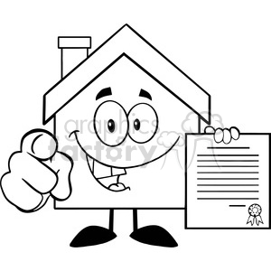 6461 Royalty Free Clip Art Black and White House Cartoon Mascot Character Pointing With Finger And Holding A Contract clipart. Commercial use image # 389493
