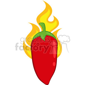 6766 Royalty Free Clip Art Red Chili Pepper On Fire clipart. Commercial use image # 389503