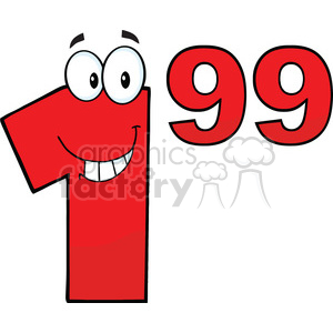 Price Tag Red Number 1.99 Cartoon Mascot Character clipart. Commercial use image # 389523