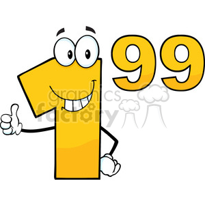 6695 Royalty Free Clip Art Price Tag Number 1-99 Cartoon Mascot Character Giving A Thumb Up clipart. Commercial use image # 389533