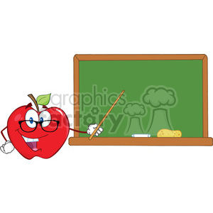 6511 Royalty Free Clip Art Smiling Apple Teacher Character With A Pointer In Front Of Chalkboard clipart. Royalty-free image # 389543