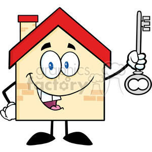 6484 Royalty Free Clip Art House Cartoon Character Holding Up A Key clipart. Commercial use image # 389563