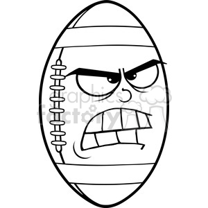 6562 Royalty Free Clip Art Black and White Angry American Football Ball Cartoon Mascot Character clipart. Royalty-free image # 389573