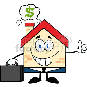 6450 Royalty Free Clip Art Smiling House Businessman Carrying A Briefcase,Giving A Thumb Up With Smoke Cloud And Dollar Sign clipart. Royalty-free image # 389583