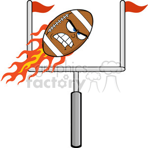 6567 Royalty Free Clip Art Angry Flaming American Football Ball Cartoon Character With Goal clipart. Royalty-free image # 389603