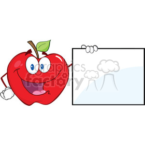 6516 Royalty Free Clip Art Happy Apple Cartoon Character Showing A Blank Sign clipart. Royalty-free image # 389613