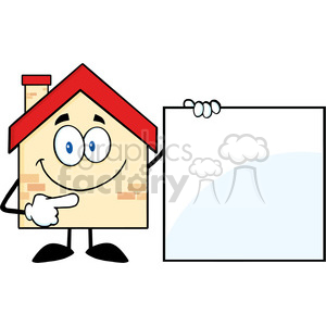6464 Royalty Free Clip Art House Cartoon Mascot Character Showing A Blank Sign clipart. Commercial use image # 389635