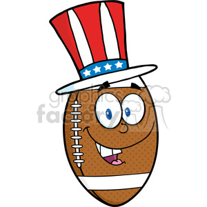 6576 Royalty Free Clip Art American Football Ball Cartoon Mascot Character With American Patriotic Hat clipart. Royalty-free image # 389645