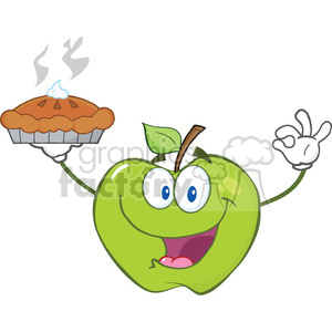 6540 Royalty Free Clip Art Happy Green Apple Character Holding Up A Pie