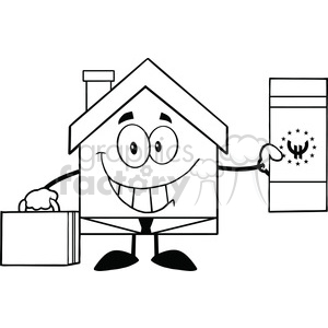6453 Royalty Free Clip Art Black and White House Businessman Carrying A Briefcase And Showing A Euro Bill