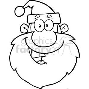 6653 Royalty Free Clip Art Black And White Happy Santa Claus Head Cartoon Character clipart. Royalty-free image # 389685