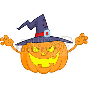 6610 Royalty Free Clip Art Scaring Halloween Pumpkin With A Witch Hat Cartoon Illustration clipart. Royalty-free image # 389755