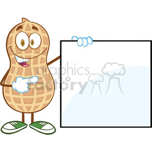 6599 Royalty Free Clip Art Peanut Cartoon Mascot Character Showing A Blank Sign