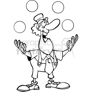 cartoon clown juggling balls in black and white clipart. Royalty-free image # 389833