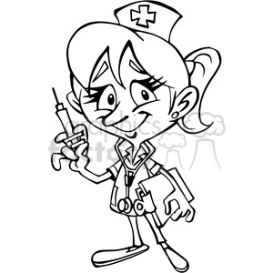 female nurse cartoon character in black and white clipart. Commercial use image # 389863