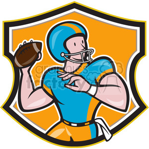 american football quarterback throw frnt CREST clipart. Commercial use image # 389883