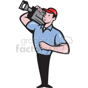 cameraman movie camera shoulder clipart. Royalty-free image # 389893