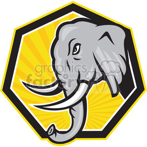 elephant side charge walk HEAD clipart. Commercial use image # 389918