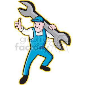 plumber thumb up front spanner 001 clipart. Royalty-free image # 389948