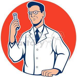 cartoon retro scientist science laboratory test+tube testing