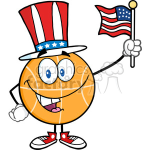 Royalty Free RF Clipart Illustration Happy Basketball Cartoon Character With American Patriotic Hat And USA Flag