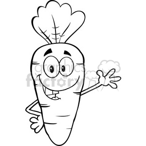 Royalty Free RF Clipart Illustration Black And White Smiling Carrot Cartoon Character Waving For Greeting clipart. Commercial use image # 390144