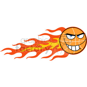 Royalty Free RF Clipart Illustration Flaming Basketball Cartoon Character clipart. Royalty-free image # 390204