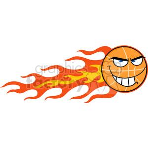 Royalty Free RF Clipart Illustration Flaming Basketball Cartoon Character