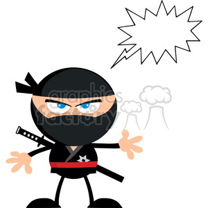 Royalty Free RF Clipart Illustration Angry Ninja Warrior Cartoon Character With Speech Bubble Flat Design clipart. Commercial use image # 390244
