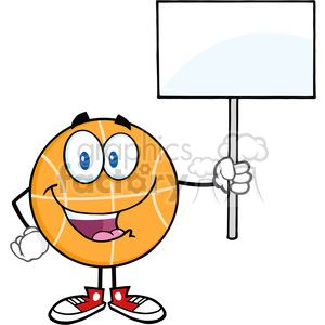 Royalty Free RF Clipart Illustration Happy Basketball Cartoon Character Holding A Blank Sign clipart. Royalty-free image # 390254