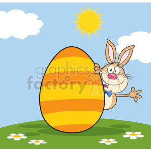 Cute Rabbit Cartoon Character Waving Behinde Easter Egg clipart. Royalty-free image # 390264