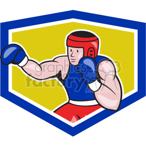 boxer punching side OL SHIELD clipart. Commercial use image # 390376